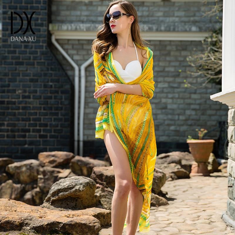 245*110cm Silk Scarf Luxury Brand Women Shawls New Fashion Long Yellow Airplane Pure Bandana Scarves Blanket Hijab Face Shield