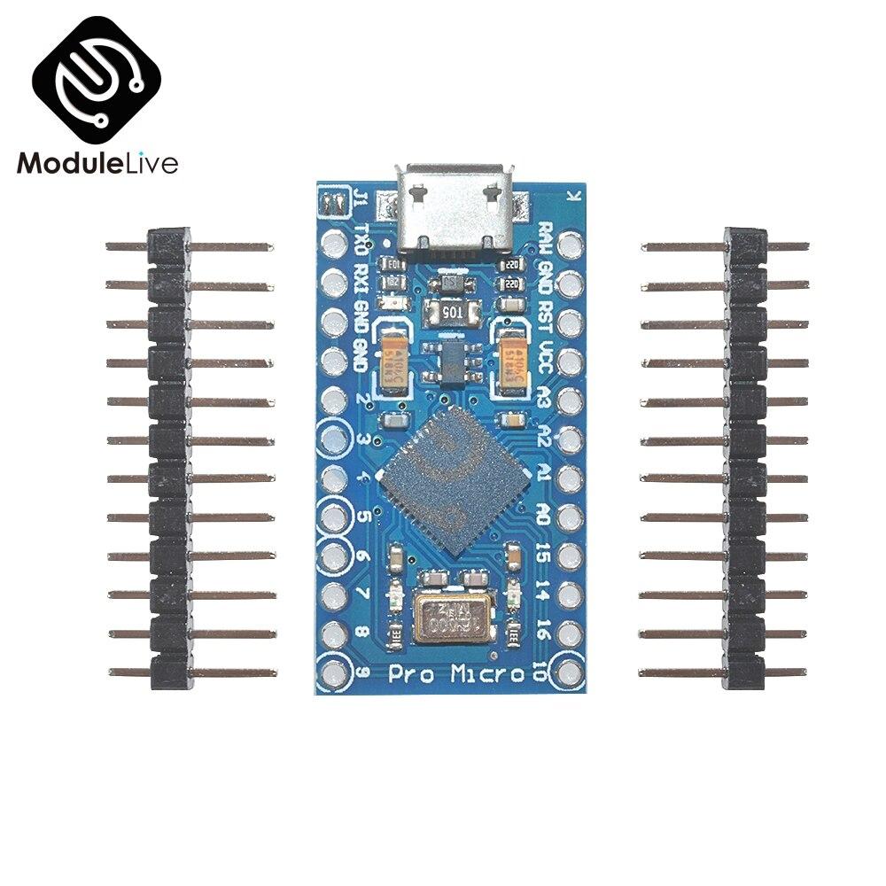 5 uds Pro Micro para Arduino ATmega32U4 controlador Micro USB de 5V 16MHz atmega32U4 Junta módulo Repalce ATmega328 Pro Mini con Pin