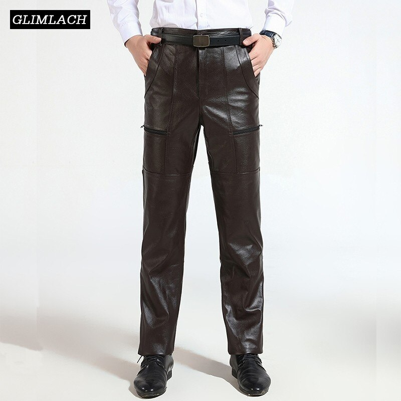 Brown Mens Luxury Cowskin Real Leather Trousers Plus Size Loose Genuine Leather Pants Man Zipper Cowhide Motorcycle Riding Pants