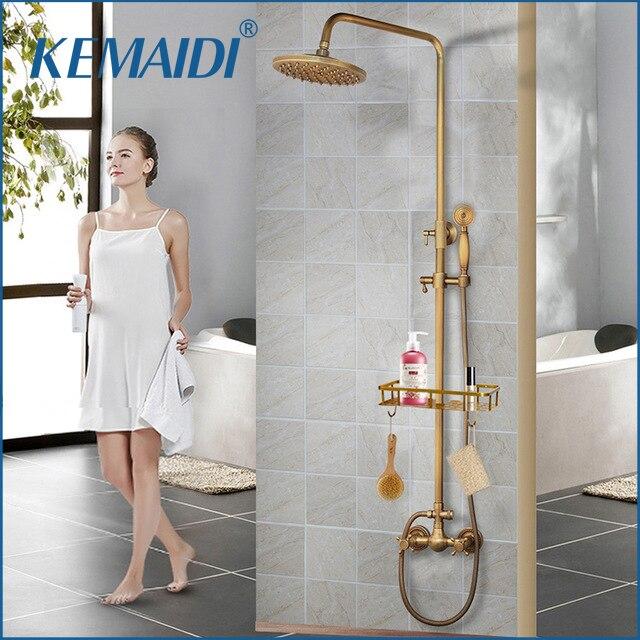 KEMAIDI-مجموعة دش نحاسية عتيقة مثبتة على الحائط ، صنبور بمقبض واحد مع دش يدوي ورف ، خلاط دش للحمام