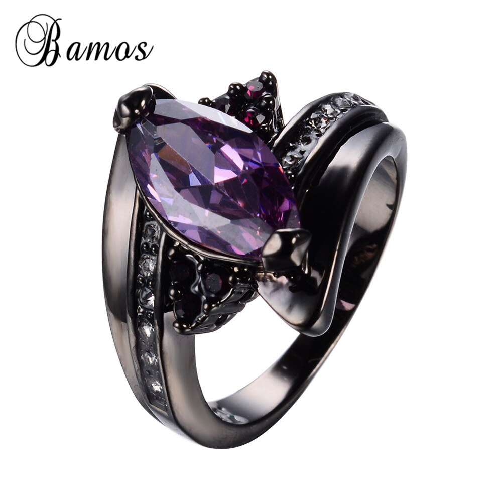 Женское кольцо в виде конского глаза, фиолетовое кольцо с фиолетовыми цирконами для свадьбы, вечеринки, помолвки, RB0585