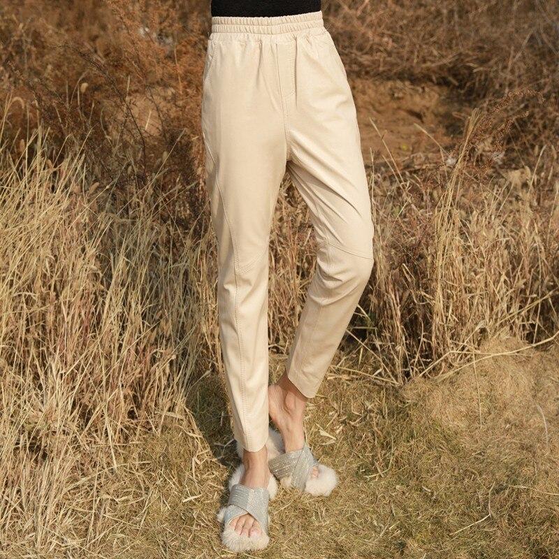 Women Sheepskin Genuine Leather Pencil Pants New Lady Luxury Real Leather Trousers Elegant Pants Autumn Elastic Waist Streetwear