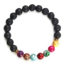 2017 Nouveau Naturel Noir Bracelets En Pierre De Lave 7 Reiki Chakra Guérison Équilibre Perles Bracelet pour Hommes Femmes Stretch Yoga Bijoux