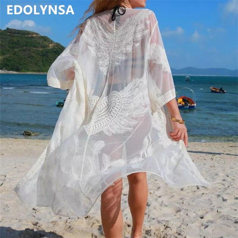 Sexy ver a través de mediados de longitud de pantorrilla tres cuartos de encaje Kimono mujeres verano playa pura blusa para playa transparente Pareo N703