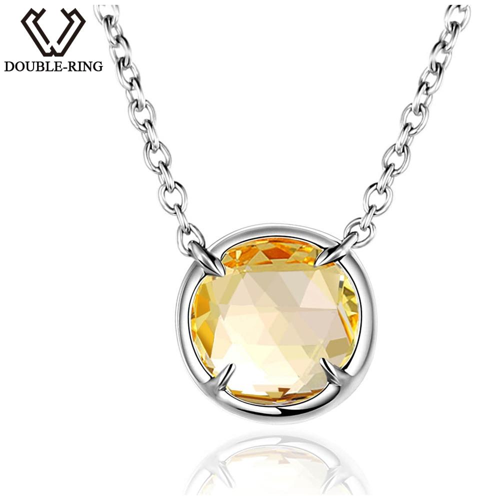 DOUBLE-R 1,6 CT Natural collares citrinos mujeres sólida plata 925 colgante redondo piedra preciosa clásica regalo de joyería para mujer