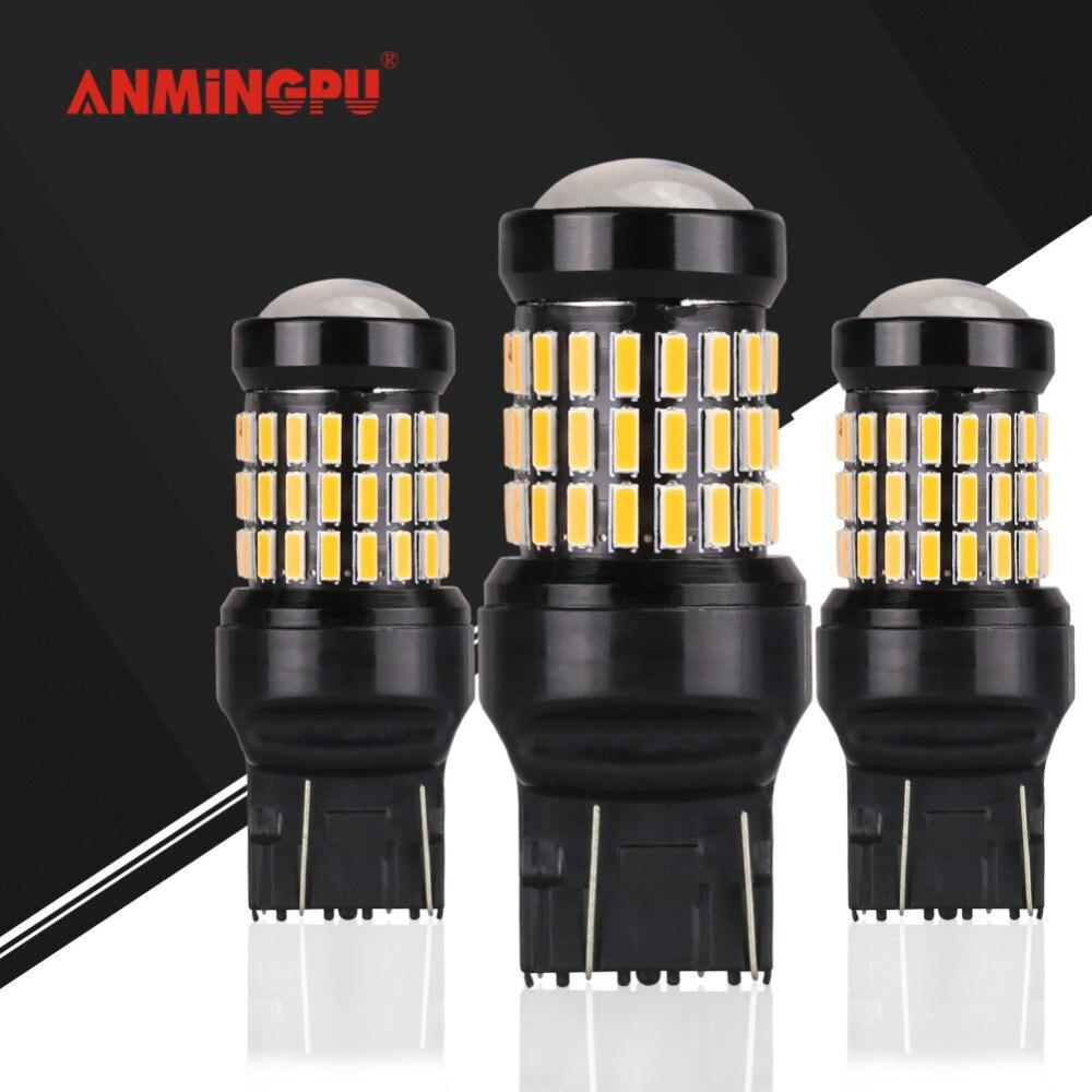 ANMINGPU 2x Signal Lamp T20 7440 W21W WY21W 7443 LED W21/5W Led Bulb Car Tail Brake Lights Auto Reverse Lamp Turn Signal Lamps