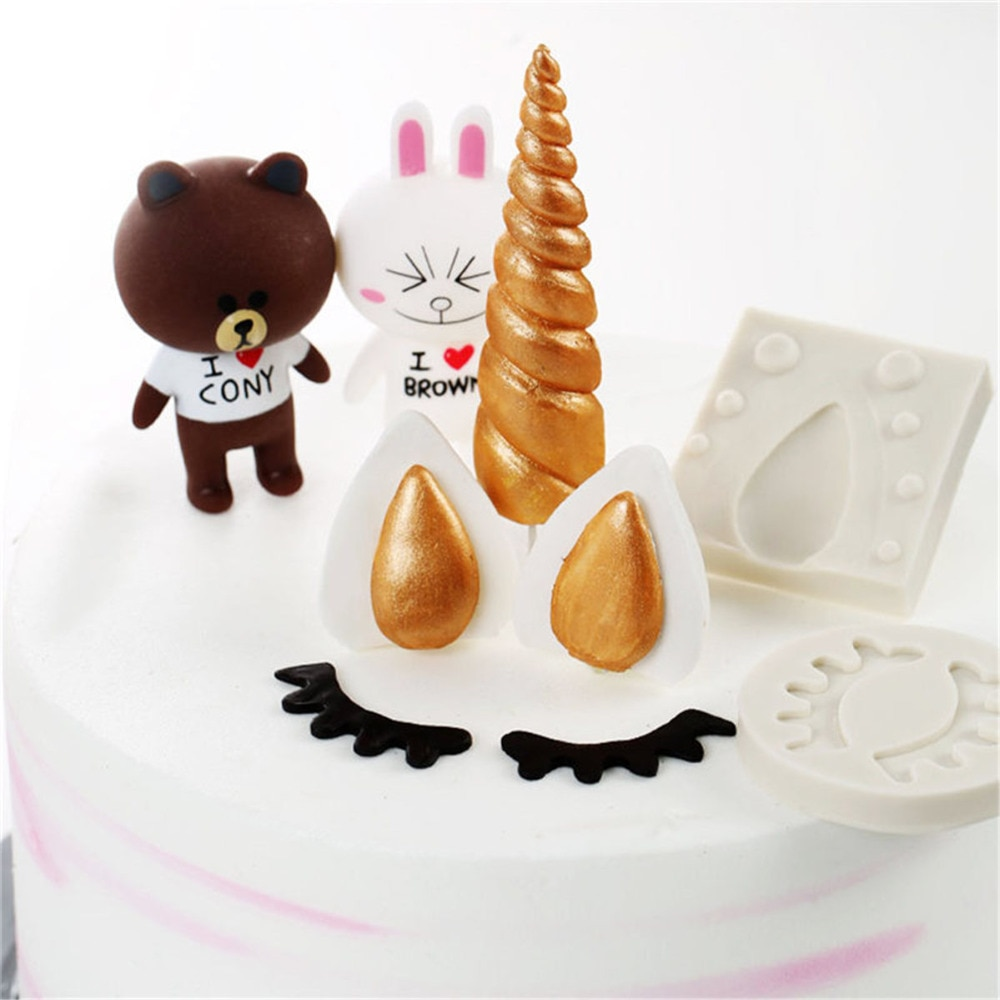 Fondant de cumpleaños, unicornio, animales, molde de silicona para pastel, utensilios de cocina 3D, suministro para moldes para hornear, utensilios para hornear, herramientas para decoración de pasteles