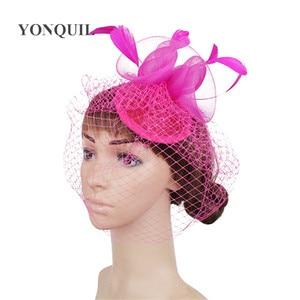 Dinner Party Wedding Rose Fascinators Hat Hot Pink Headbands Bridal Mesh Millinery Hair Clips Vintage Sombreros Accessory SYF450
