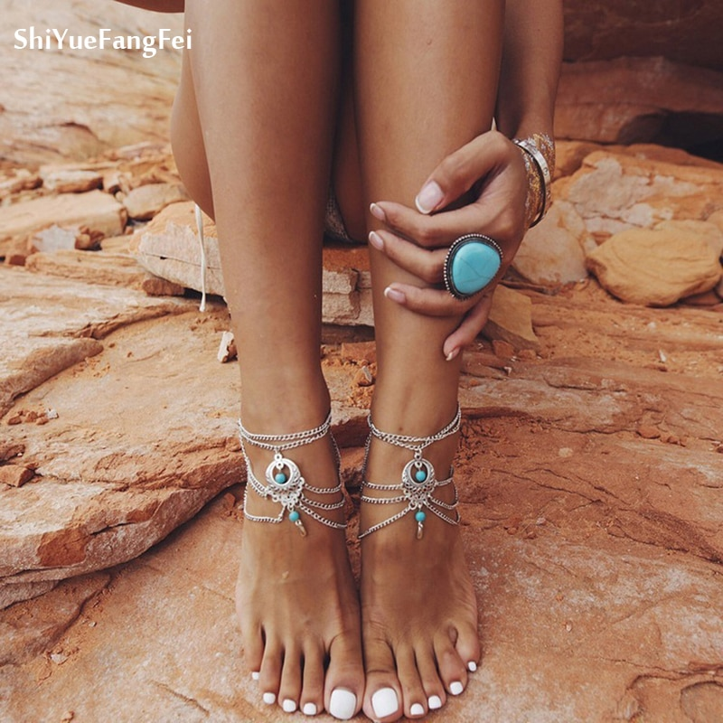 Cor de prata do vintage tornozelo pulseira pé jóias descalço sandálias tornozeleira para mulher tornozeleira chaine cheville bijoux