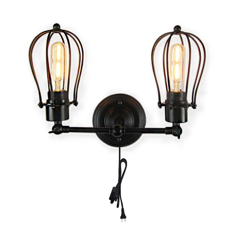 Loft Metal Single Double Heads Wall Light Retro Brass Country Style E27 EU AU Plug Wall Lamp Sconce Lamp for Restaurant Bar