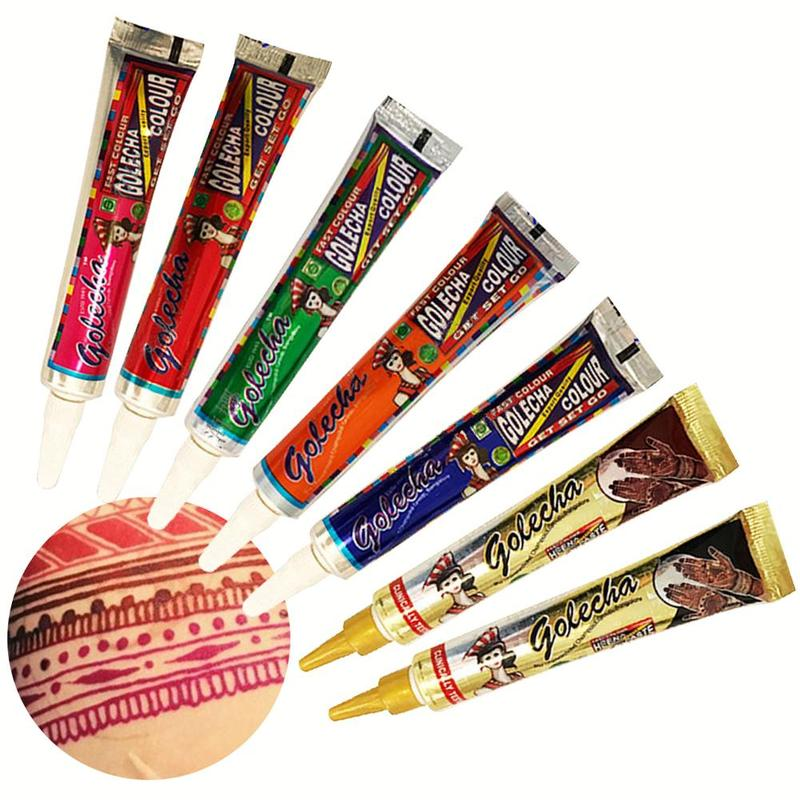 1 Uds., conos para tatuaje de Henna, conos para tatuaje de fiesta de colores naturales, orgánicos, impermeables, conos de Henna, pasta, pintura para tatuaje, arte corporal, Henne