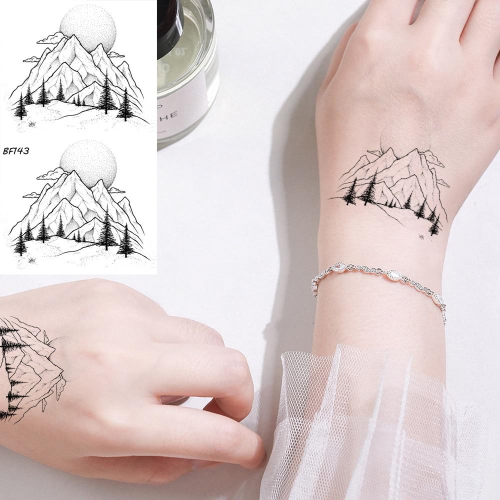 Black Line Women Sexy Fake Tattoo Stickers Small Mountains Men Tree Temporary Tattoo Moon Body Arm 3D Neck Water Transfer Tatoos
