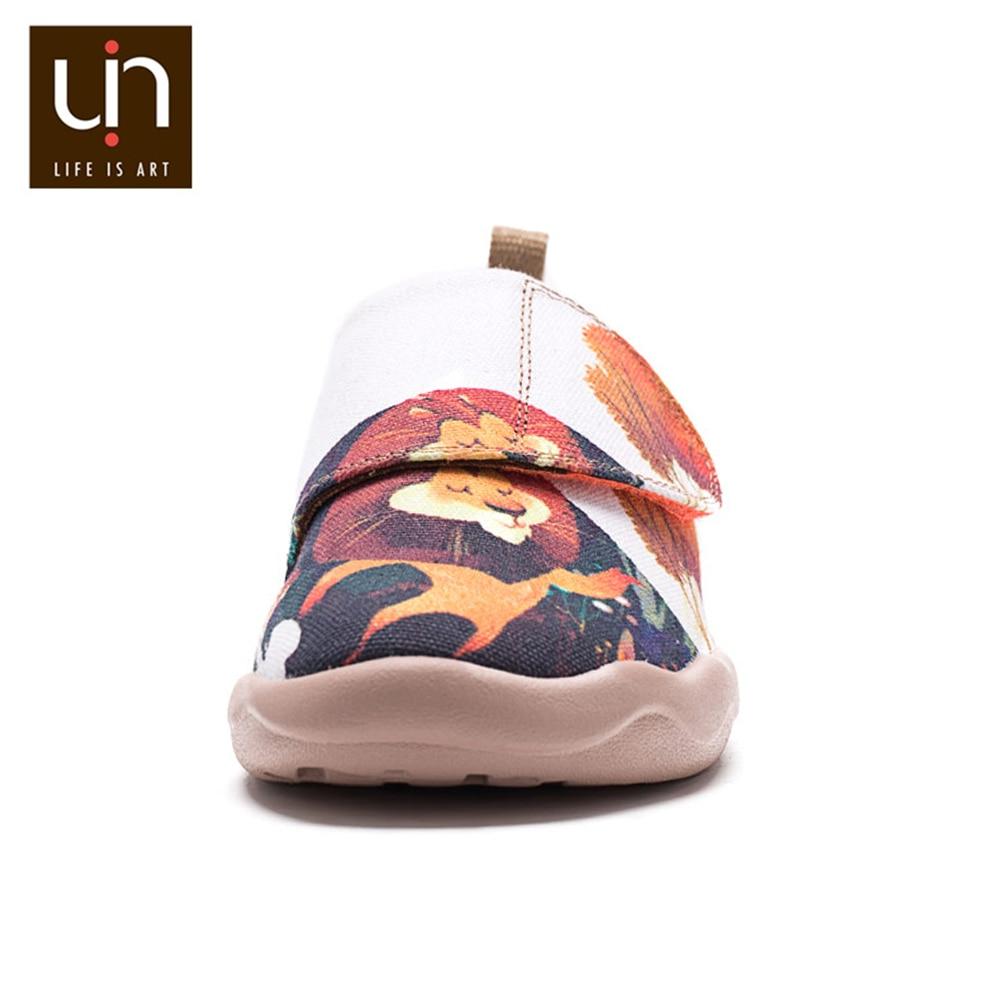 UIN King Ozzy Design Painted Canvas Big Kids Shoes Easy Hook & Loop Children Sneakers for Boys/Girls enlarge