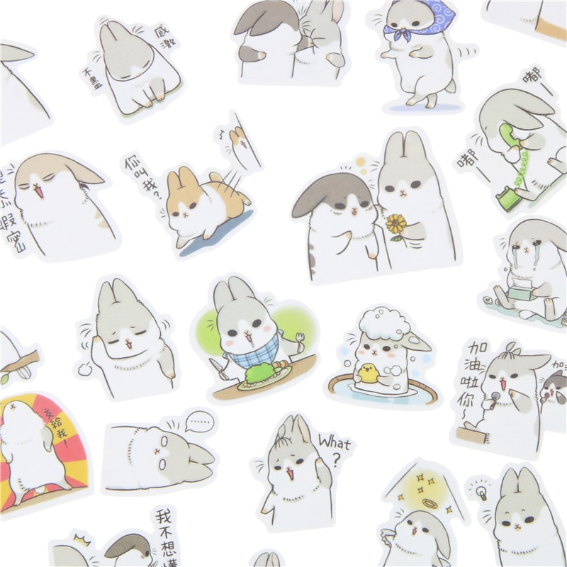 40 unids/pack nueva Kawaii gordito conejo serie adhesivo de PET paquete caliente vender Deco embalaje pegatinas Memo Pad Material Escolar Kawaii