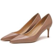 Nueva moda Primavera mujeres clásicas charol Oficina bombas fino tacón alto desnudo zapatos de oficina boda Mujer talla 34-42 F0046