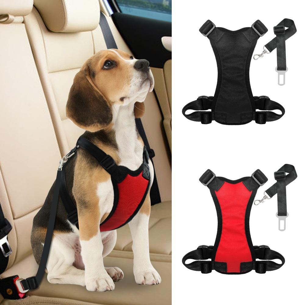 Nylon Hund Autositz Gürtel Mesh Pet Dogs Sicherheit Auto Harness Weich Gepolsterte Vest Fahrzeug Sicherheitsgurt Blei Leine Für Medium große