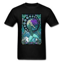 Art Nouveau Mermaid Tshirts Fitted Men T Shirt Woman Sexy Tops Summer T-shirt Black Fashion Clothes Chic Design Tees