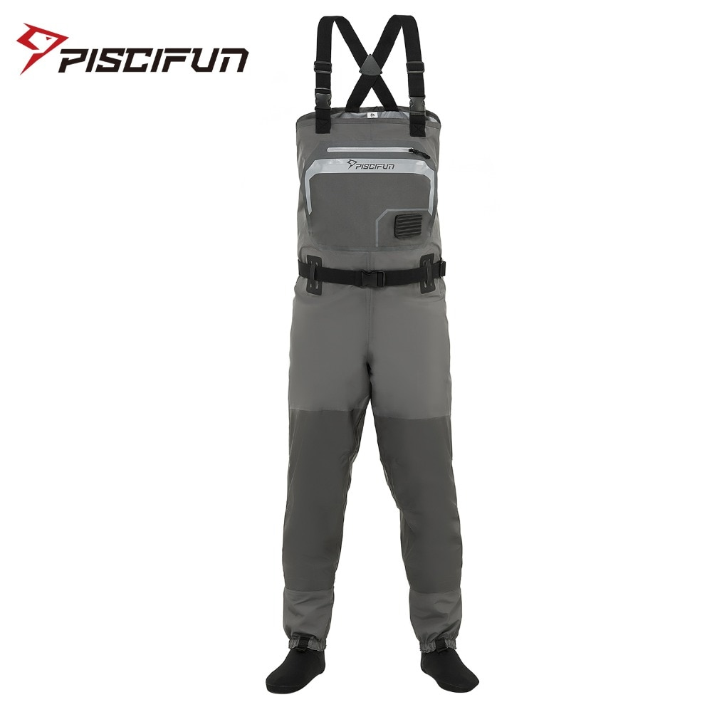 high jump ultra thin 0 34mm siamese fishing waders waterproof 700d nylon pvc breathable chest height pocket belt fishing overall Piscifun 3-Layer Polyester Breathable Waterproof Stocking Foot Fly Fishing Chest Waders Pant for Men and Women with Phone Case