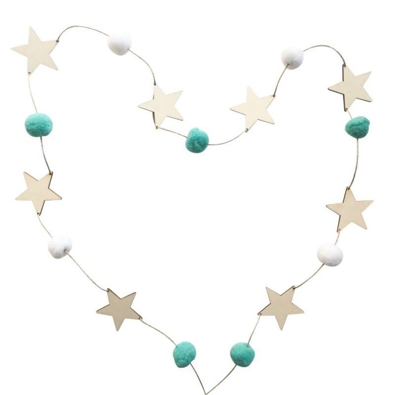 Nordic Style DIY Felt Balls Wood Stars Hanging Pendant Garland Ornament For Birthday Wedding Party Kids Room Decoration