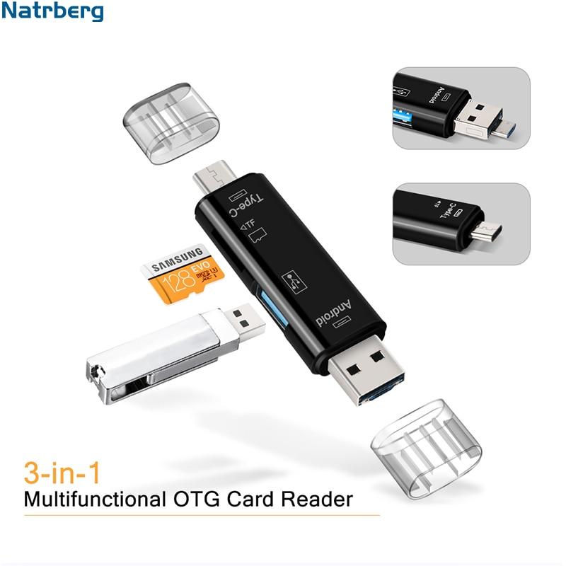 Natrberg USB Stick Reader Type C Micro SD USB OTG Card Adapter 3 In 1 USB-C Flash Stick TF Lezen voor Android Mobiele Telefoon PC Mac