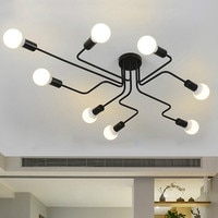 Pendant Lamp Pendant Lights Retro Multiple Heads Iron E27 Bent pipes For Home Living Room Light Fixtures Suspension Luminaire