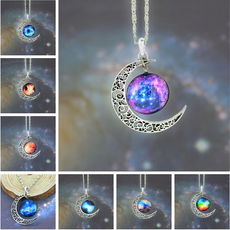 LNRRABC estrella marinero collar con pendiente de Luna Media luna Vintage hueco largo barato cadena enlace colgantes vidrio galáctico cabujón sudor
