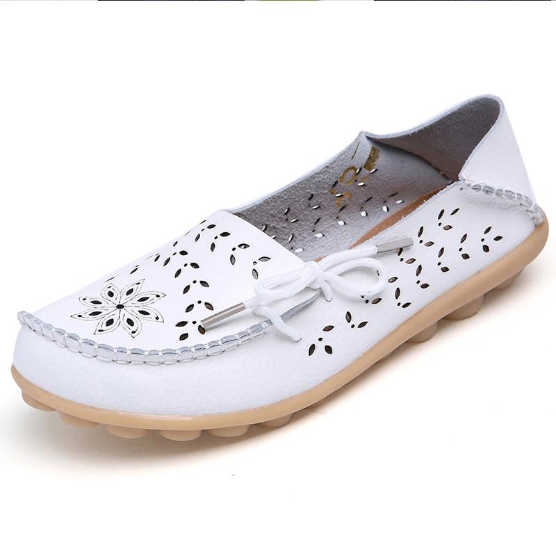 Zapatos de moda para mujer, zapatos planos de piel auténtica, zapatos planos para mujer, zapatos planos de Ballet para mujer, mocasines para mujer
