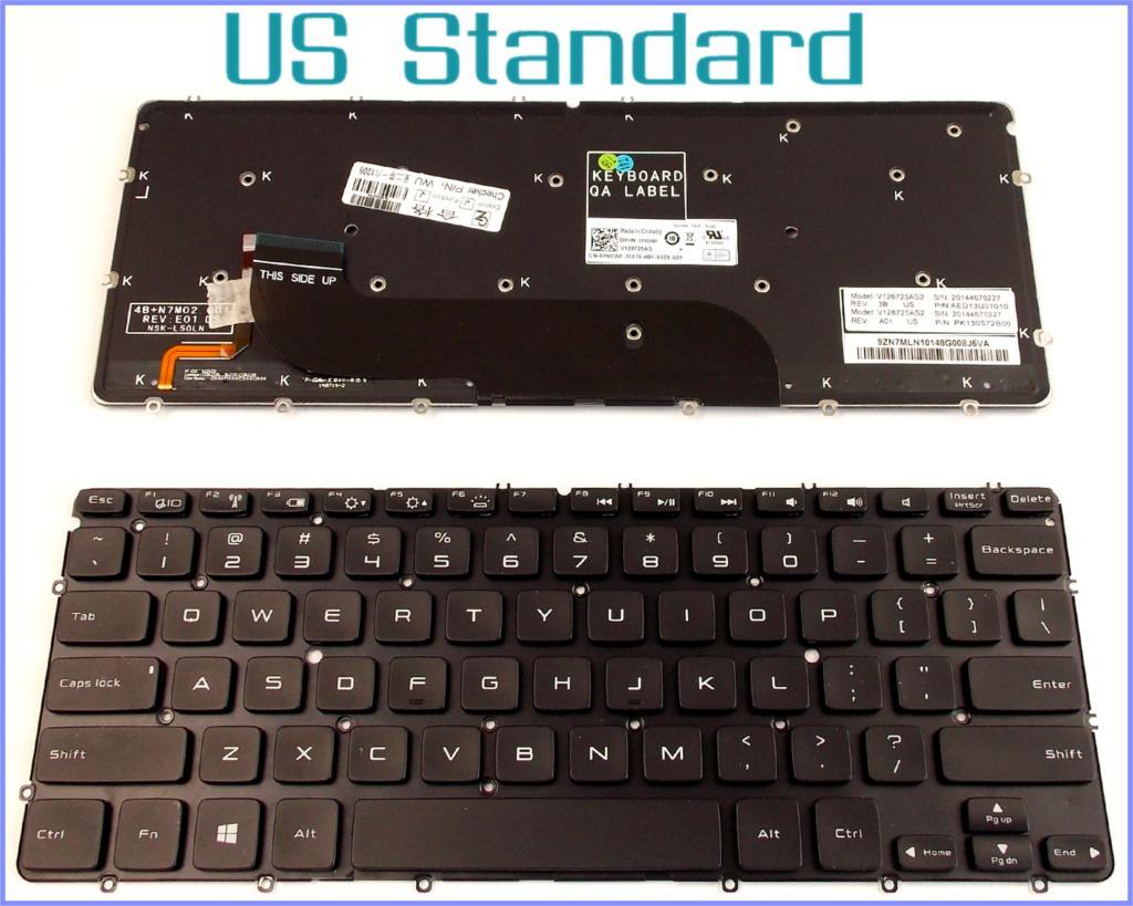 Клавиатура для Dell XPS 12 13 13R 13D 13Z L221X L321X L322X XPS13 ноутбука с черной подсветкой без рамки