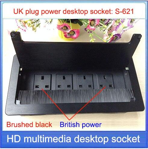 Enchufe del Reino Unido/enchufe de escritorio/oculto de escritorio enchufe/panel de aleación de aluminio Avanzado/enchufe de escritorio de conferencia de oficina S-621