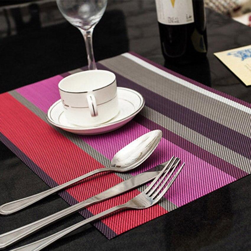 4 unids/set manteles individuales PVC mesa De comedor alfombra a rayas almohadillas plato De regalo De Cozinha 30*45cm Placa De mesa De Bar Mat Accesorios