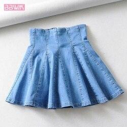 2019 nova Coreano denim saia cor sólida moda saia plissada ruffled saia de cintura alta era magro selvagem das mulheres