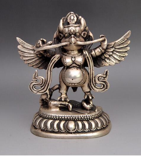 Украшения медь серебро заводские магазины Тибет Буддийский храм Белый Медь Серебро Птица Бог Статуя Будды