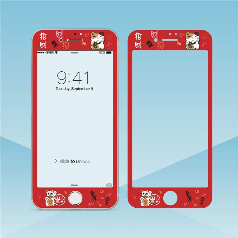 Vidro temperado dos desenhos animados para o iphone 7 8 plus 3d filme de borda macia gato sorte protetor de tela para iphone 6s 6plus protetor de vidro