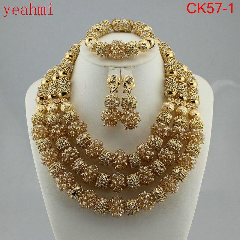 Incredibile beads africani insieme dei monili delle donne della catena di cerimonia nuziale Nigeriano di cristallo a più strati della collana/orecchino set di gioielli Indiani CK57-1