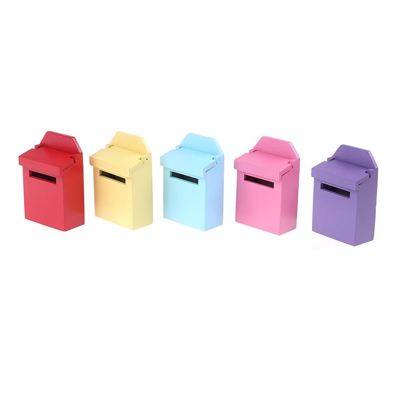 112 casa de muñecas miniatura madera buzón de correo de hadas pegatina Puerta de hadas accesorios 5 colores