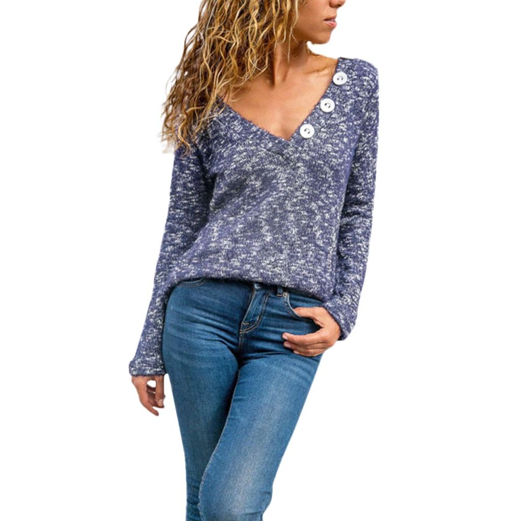 Nueva camiseta de estilo fajonable de mujer Casual botón manga larga Camiseta Tops gran venta envío #25 Dropshipping