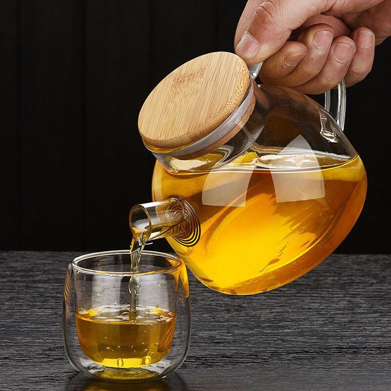 Tetera de cristal resistente al calor de estilo chino con cubierta de madera Kung Fu flor té Puer tetera taza de café Oficina Set de Tetera
