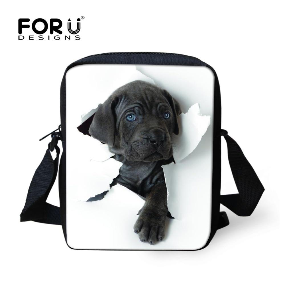 FORUDESIGNS Hot 3D Animal mujeres Messenger Bags Cat Dog Head Cross-body Travel bolsos divertidos señoras pequeña Bolsa Feminina Sac A Main