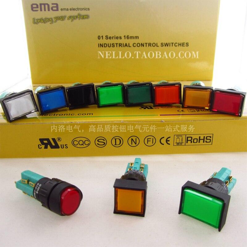 [SA]EMA 16 مللي متر ليست مضيئة مجهار التبديل 01P-R / S / CA40.S2P لحظة الذاتي قفل دائرة مربع 2a2b-10 قطعة/الوحدة