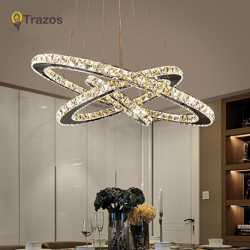 Купить с кэшбэком Modern Chrome Chandelier Crystals Diamond Ring LED Lamp Stainless Steel Hanging Light Fixtures Adjustable Cristal LED Lustre