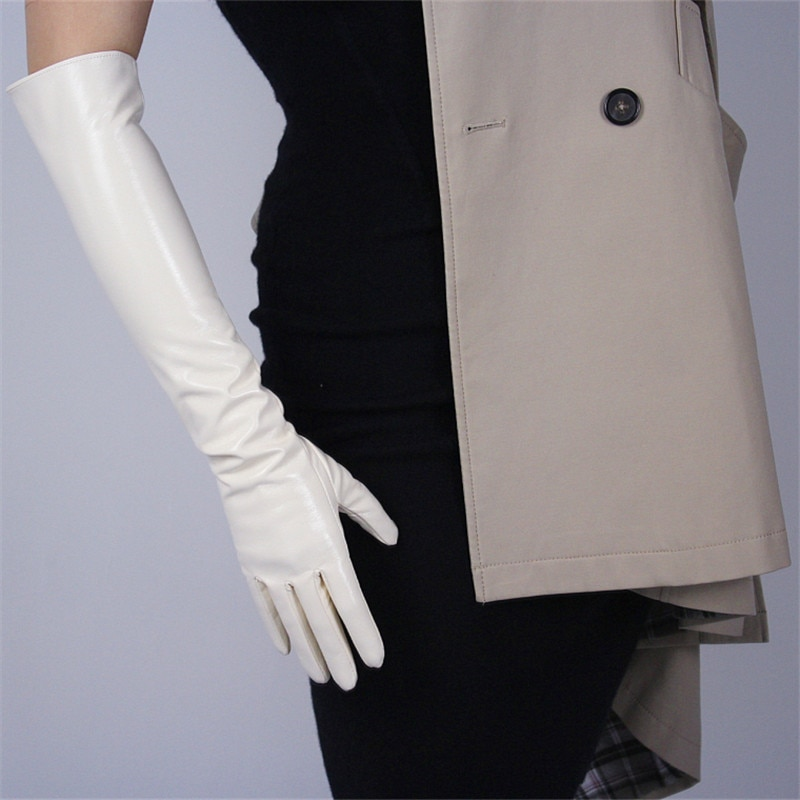 Patent Leather Long Gloves 50cm Long Section Emulation Leather PU Bright Leather Bright Rice Milk White Cream Female WPU68