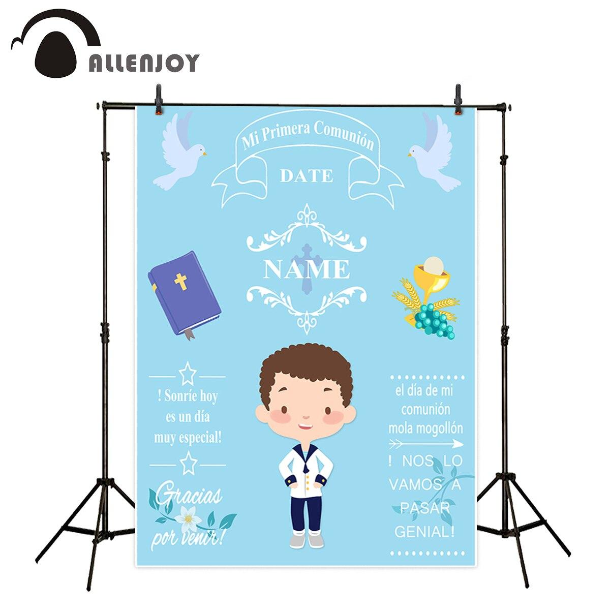 Allenjoy fondos para estudio de fotografía azul niño Primera Comunión decoración personalizar el Fondo diseño sesión fotográfica