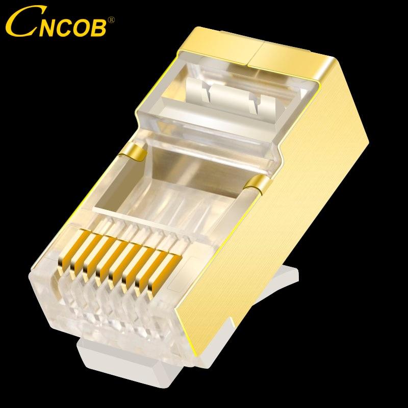 CNCOB Cat6 FTP الذهب-مطلي محمية كابلات الموصلات RJ-45 وحدات موصِّل إيثرنت شبكة كريستال رئيس 8P8C rj45 موصل
