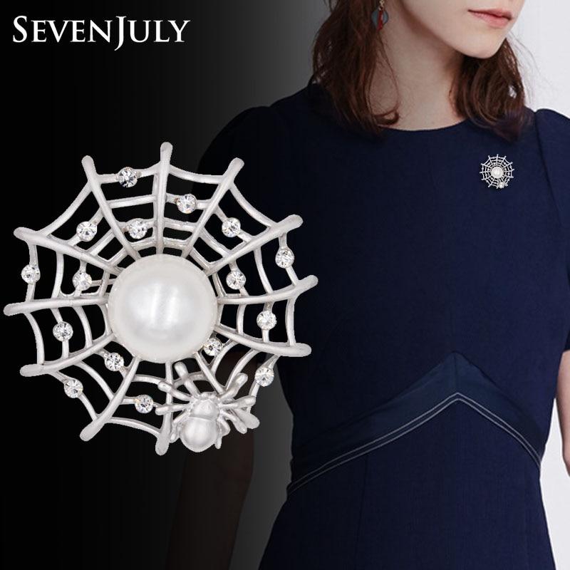 Realista de tela de araña broche Pin insecto de cristal de joyería de moda de las mujeres del Rhinestone perla bufanda Clip accesorio