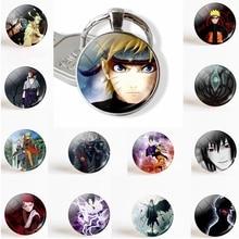 Anime Naruto Shippuden porte-clés pendentif verre dôme Cabochon Uzumaki Naruto Uchiha Sasuke bijoux mode porte-clés anneau cadeau