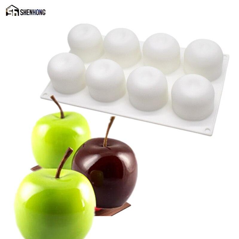 SHENHONG, moldes 3D de 8 agujeros para tartas de manzana, molde para mousse Art Pan para helados, Chocolates, Pudding, repostería, herramientas para postre horneado