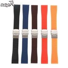 /18mm, 20mm, 22mm, 24mm/Silikon Gummi Uhr Frauen-silikon-gummi-armband-band-faltschließe Wasserdicht Schwarz/Armband 5 Farben