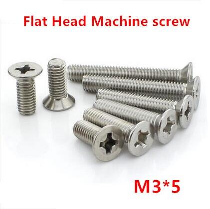 100 piezas M3 * 5 Philips tornillo de cabeza plana/Cruz empotrada cabeza avellanada tornillos de la máquina de acero inoxidable