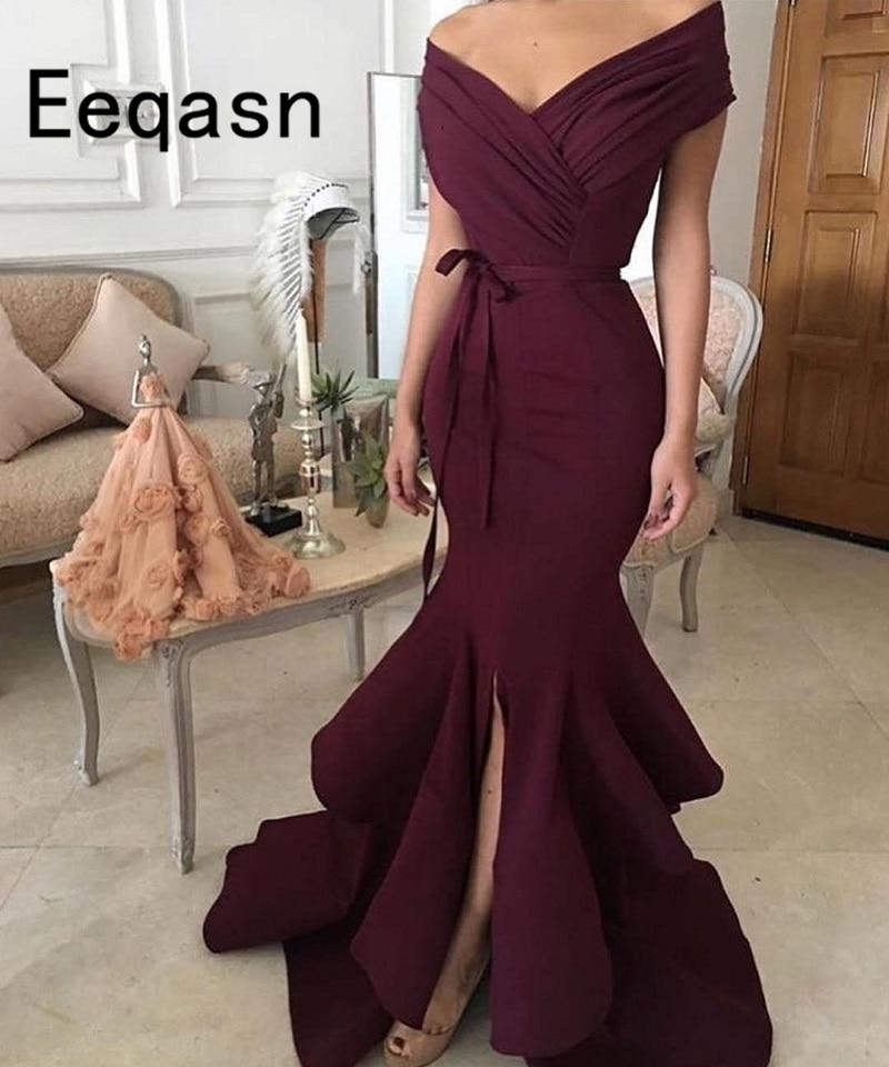 فستان سهرة انيق على شكل حورية البحر ، فستان سهرة رسمي ، بياقة على شكل V ، مطوي ، طويل ، لون خمري ، موديل 2020