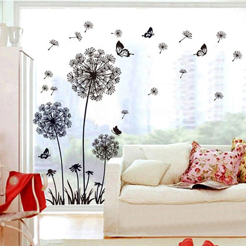 Negro, diente de león, pegatinas de mariposas para pared en la pared habitación dormitorio decoración de ventanas arte mural pared casa decoración pegatinas